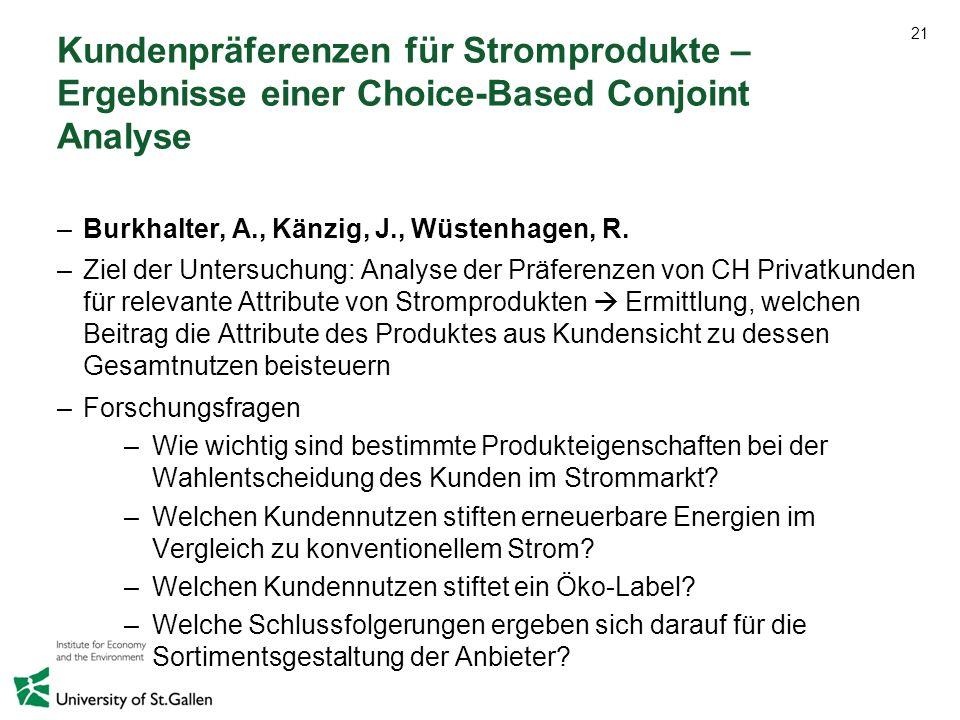 21 Kundenpräferenzen für Stromprodukte – Ergebnisse einer Choice-Based Conjoint Analyse –Burkhalter, A., Känzig, J., Wüstenhagen, R. –Ziel der Untersu