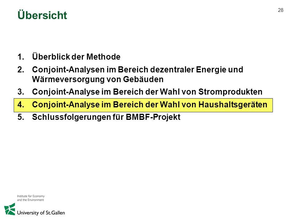28 Übersicht 1.Überblick der Methode 2.Conjoint-Analysen im Bereich dezentraler Energie und Wärmeversorgung von Gebäuden 3.Conjoint-Analyse im Bereich