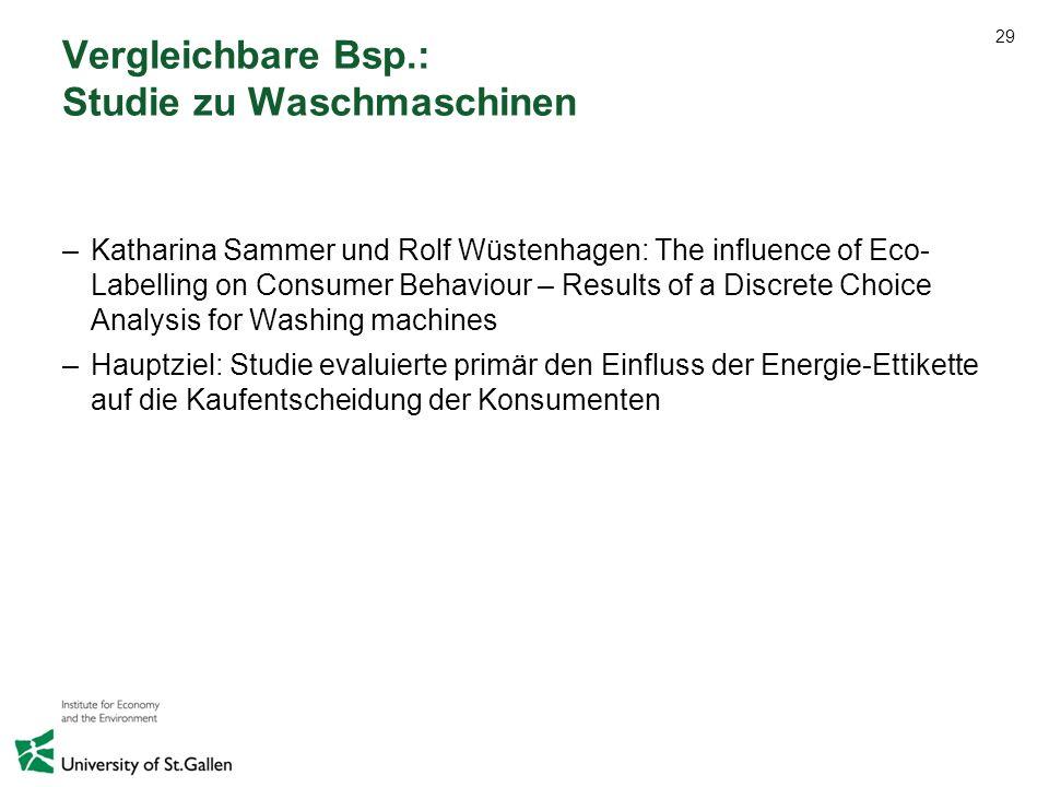 29 Vergleichbare Bsp.: Studie zu Waschmaschinen –Katharina Sammer und Rolf Wüstenhagen: The influence of Eco- Labelling on Consumer Behaviour – Result