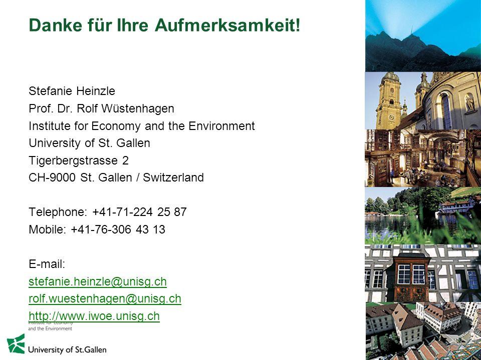 33 Danke für Ihre Aufmerksamkeit! Stefanie Heinzle Prof. Dr. Rolf Wüstenhagen Institute for Economy and the Environment University of St. Gallen Tiger