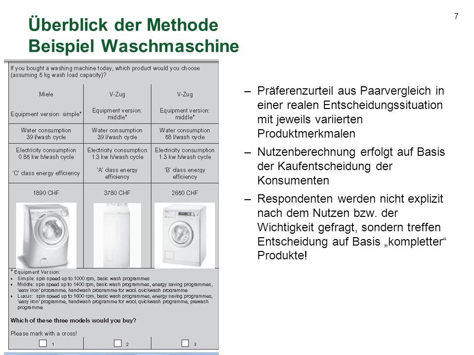 7 Überblick der Methode Beispiel Waschmaschine –Präferenzurteil aus Paarvergleich in einer realen Entscheidungssituation mit jeweils variierten Produk