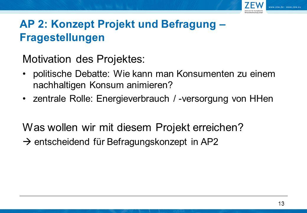 13 AP 2: Konzept Projekt und Befragung – Fragestellungen Motivation des Projektes: politische Debatte: Wie kann man Konsumenten zu einem nachhaltigen Konsum animieren.