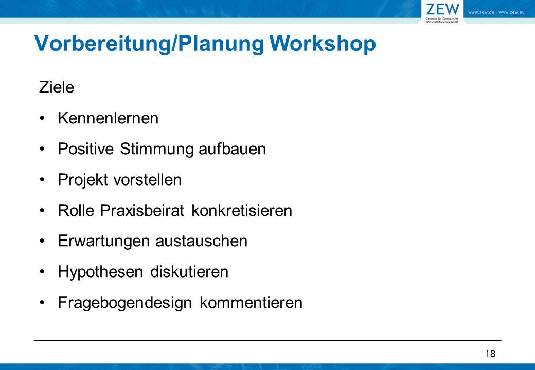 18 Vorbereitung/Planung Workshop Ziele Kennenlernen Positive Stimmung aufbauen Projekt vorstellen Rolle Praxisbeirat konkretisieren Erwartungen austauschen Hypothesen diskutieren Fragebogendesign kommentieren