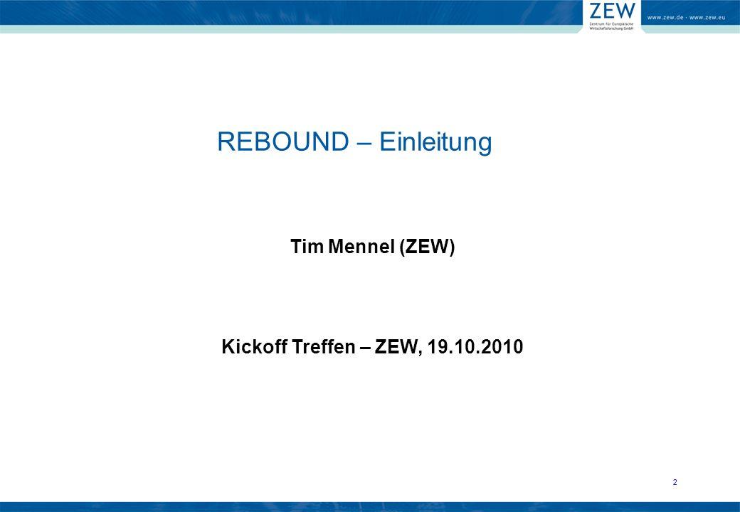 Tim Mennel Telefon:+49 621 1235 201 Mail:mennel@zew.de REBOUND – AP4: Makroökonomische Analyse 13