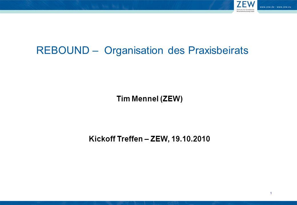 11 Tim Mennel (ZEW) Kickoff Treffen – ZEW, 19.10.2010 REBOUND – Organisation des Praxisbeirats