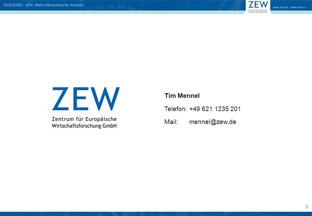 Tim Mennel Telefon:+49 621 1235 201 Mail:mennel@zew.de REBOUND – AP4: Makroökonomische Analyse 5