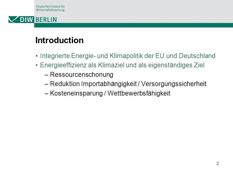 2 Introduction Integrierte Energie- und Klimapolitik der EU und Deutschland Energieeffizienz als Klimaziel und als eigenständiges Ziel – Ressourcenschonung – Reduktion Importabhängigkeit / Versorgungssicherheit – Kosteneinsparung / Wettbewerbsfähigkeit