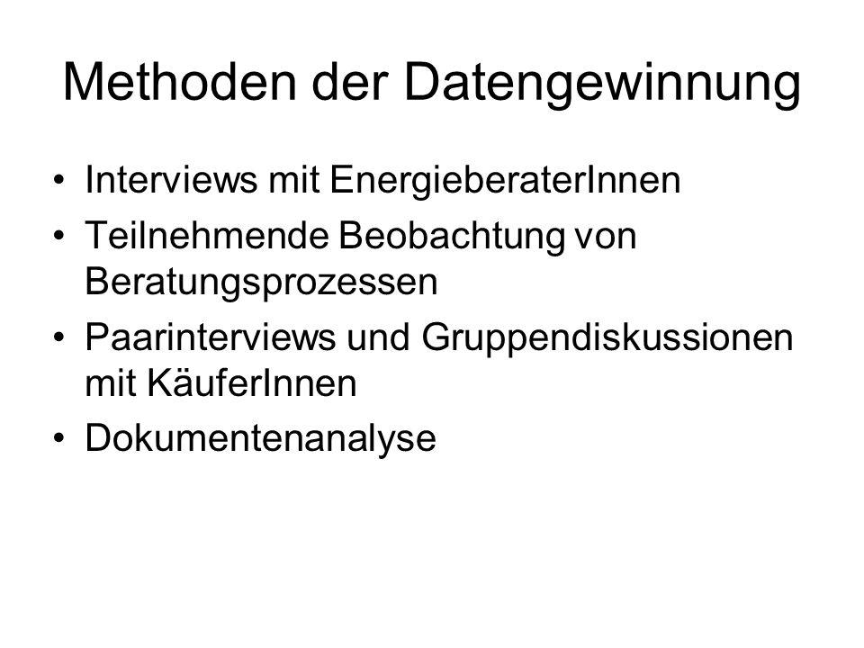 Methoden der Datengewinnung Interviews mit EnergieberaterInnen Teilnehmende Beobachtung von Beratungsprozessen Paarinterviews und Gruppendiskussionen