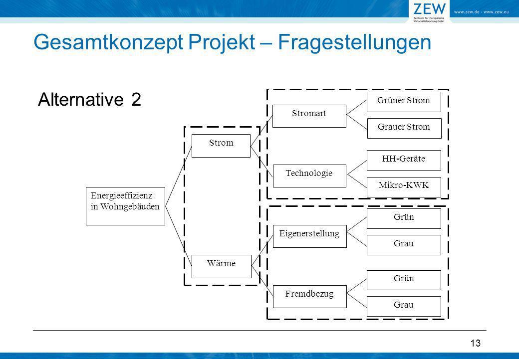 13 Gesamtkonzept Projekt – Fragestellungen Alternative 2 Energieeffizienz in Wohngebäuden Strom Wärme Grüner Strom Eigenerstellung Fremdbezug Technolo