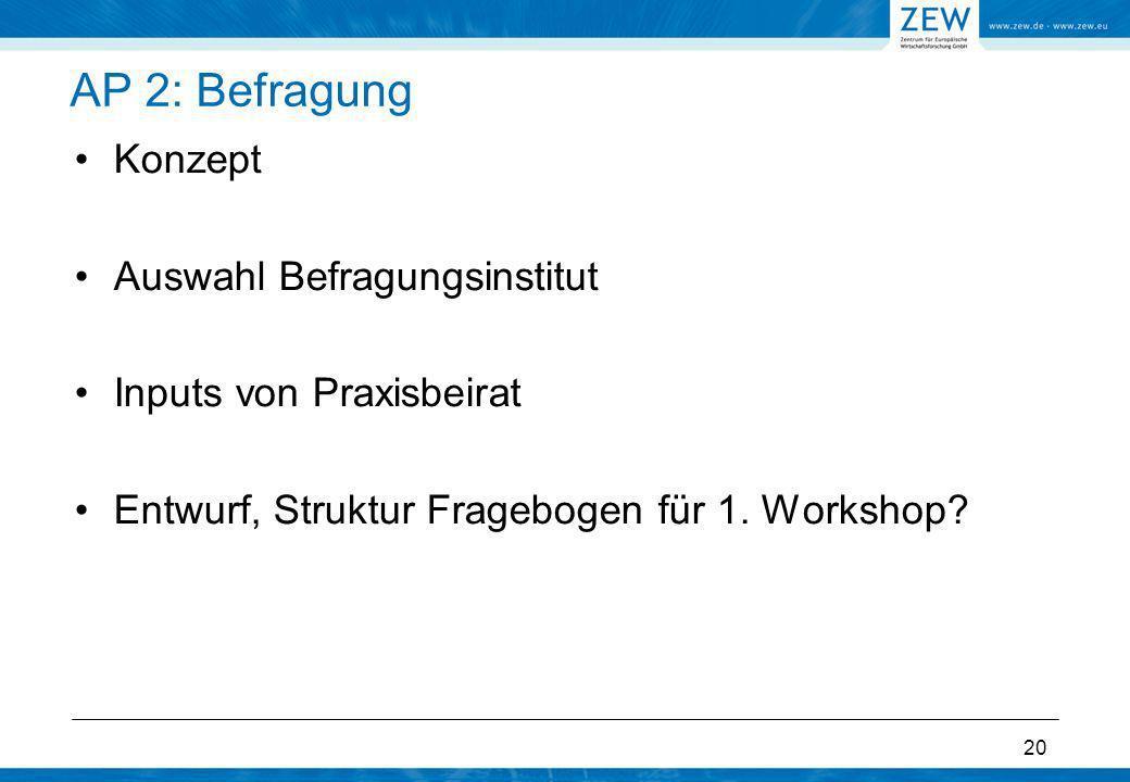 20 AP 2: Befragung Konzept Auswahl Befragungsinstitut Inputs von Praxisbeirat Entwurf, Struktur Fragebogen für 1. Workshop?