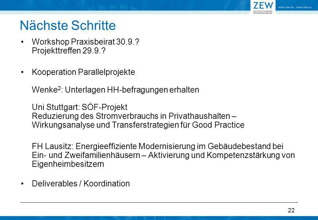 22 Nächste Schritte Workshop Praxisbeirat 30.9.? Projekttreffen 29.9.? Kooperation Parallelprojekte Wenke 2 : Unterlagen HH-befragungen erhalten Uni S