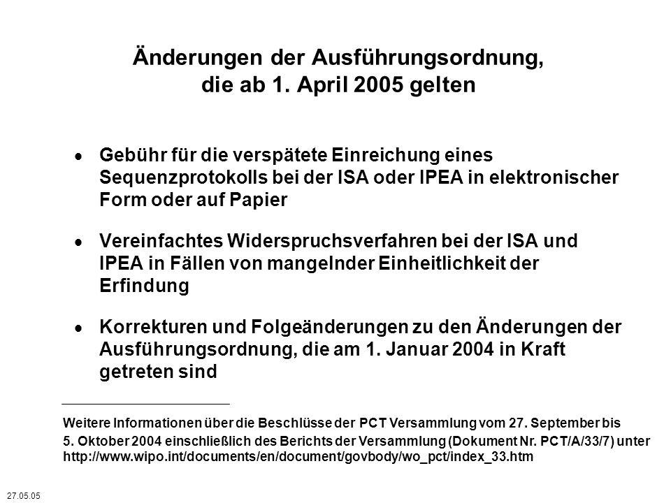 Gebühr für die verspätete Einreichung eines Sequenzprotokolls bei der ISA und/oder IPEA Falls die internationale Anmeldung am Anmeldedatum –kein dem Standard entsprechendes Sequenzprotokoll in Papierform, oder –kein dem Standard entsprechendes Sequenzprotokoll in elektronischer Form, enthält, fordert die ISA den Anmelder auf, ein dem Standard entsprechendes Sequenzprotokoll in entsprechender Form einzureichen, es sei denn, ihr ist ein solches Protokoll bereits zugänglich, und fordert den Anmelder gegebenenfalls zur Zahlung einer Verspätungsgebühr auf (Regel 13ter.1(a) und (b)) Falls der Anmelder der Aufforderung nicht innerhalb der in der Aufforderung gesetzten Frist nachkommt, ist die ISA nicht verpflichtet eine Recherche durchzuführen, soweit eine sinnvolle Recherche ohne das Sequenzprotokoll nicht möglich ist (Regel 13ter.1(d)) 01.11.04