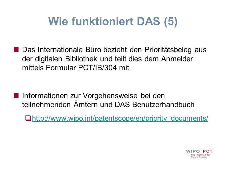 Wie funktioniert DAS (5) Das Internationale Büro bezieht den Prioritätsbeleg aus der digitalen Bibliothek und teilt dies dem Anmelder mittels Formular