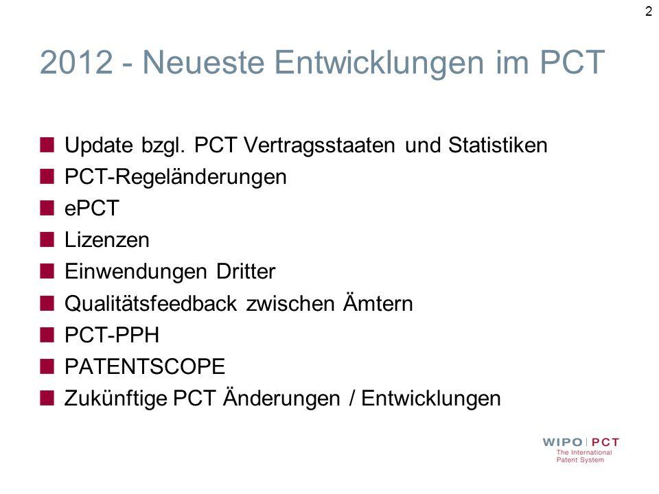23 PCT-PPH (3) USPTO Statistiken (Jan-Juni 2011) Durchschnittliche Dauer vom PPH Antrag bis zur endgültigen Entscheidung Non-PPH: 33.5 Monate PPH: 11.6 Monate PCT-PPH: 5.5 Monate Erteilungsquote Non-PPH: 47% PPH: 89% PCT-PPH: 96%