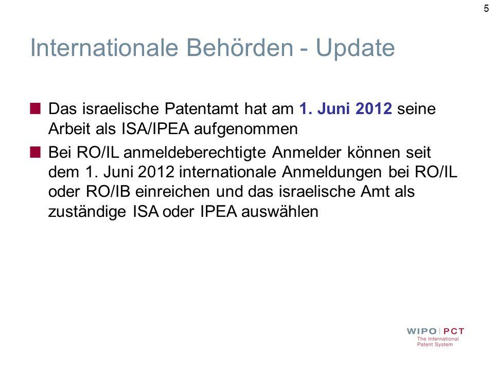 5 Internationale Behörden - Update Das israelische Patentamt hat am 1.