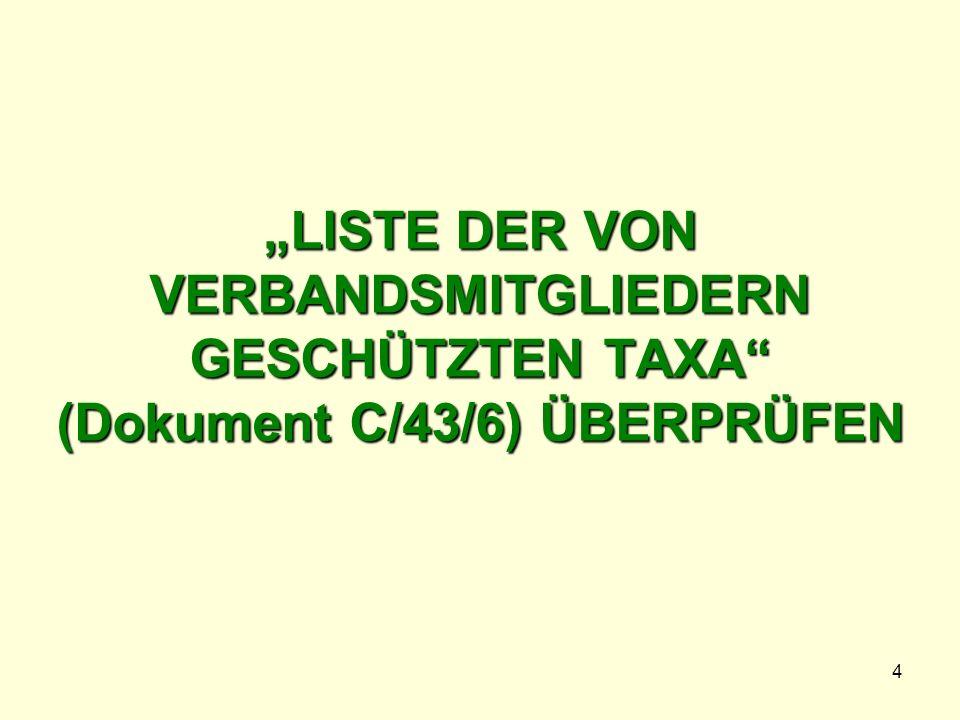 4 LISTE DER VON VERBANDSMITGLIEDERN GESCHÜTZTEN TAXA (Dokument C/43/6) ÜBERPRÜFEN