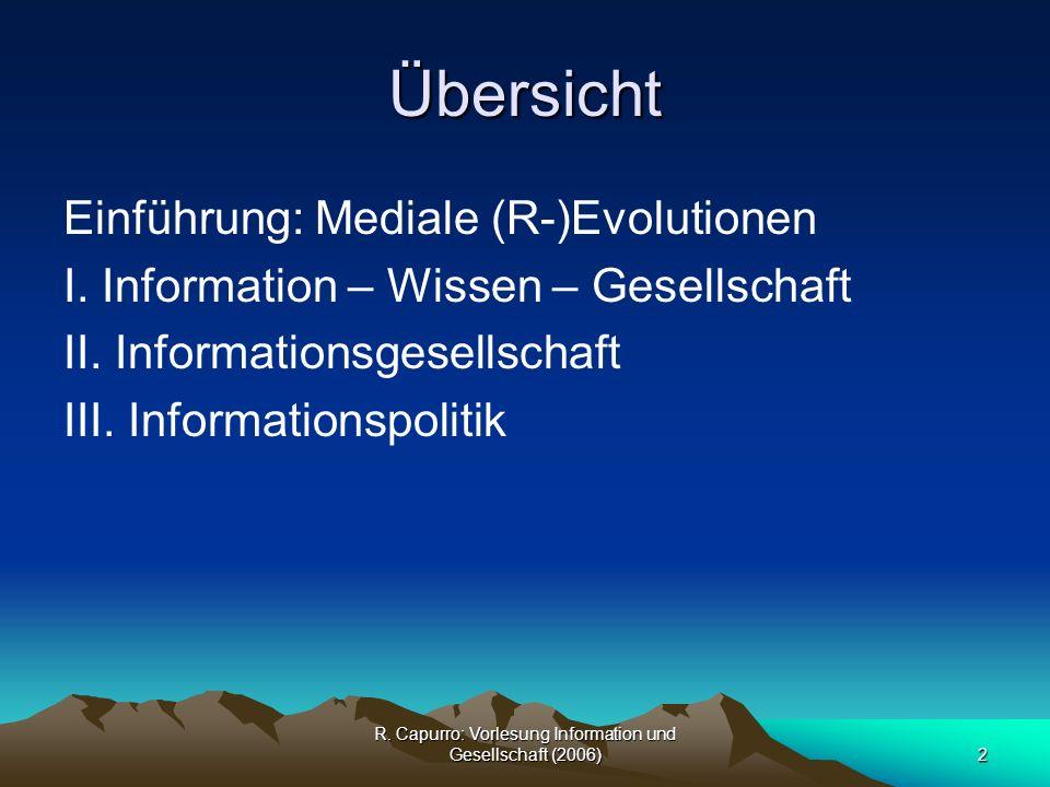 R.Capurro: Vorlesung Information und Gesellschaft (2006)13 I.