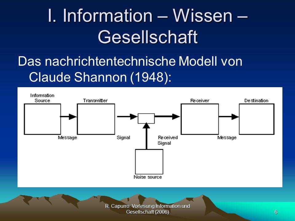 R.Capurro: Vorlesung Information und Gesellschaft (2006)27 I.