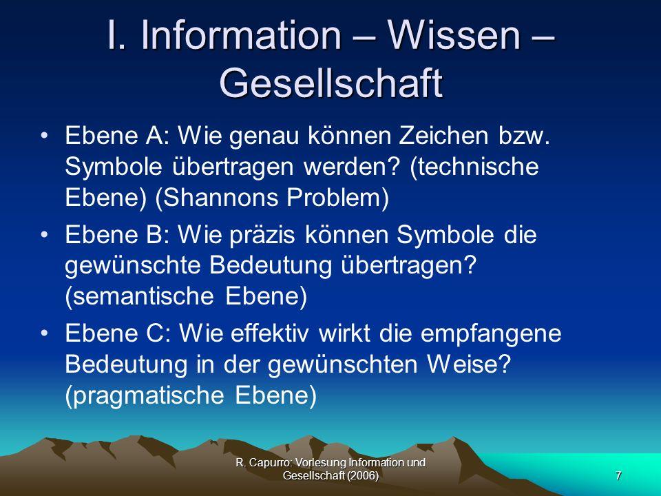 R.Capurro: Vorlesung Information und Gesellschaft (2006)28 I.
