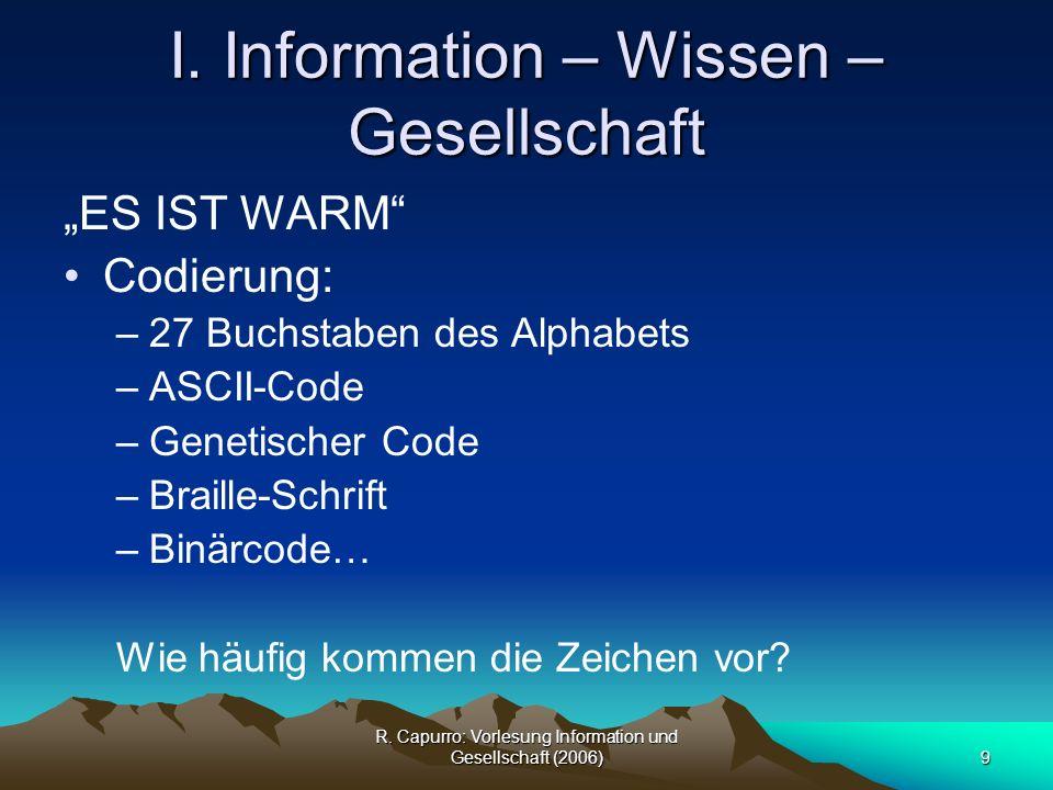 R.Capurro: Vorlesung Information und Gesellschaft (2006)30 I.