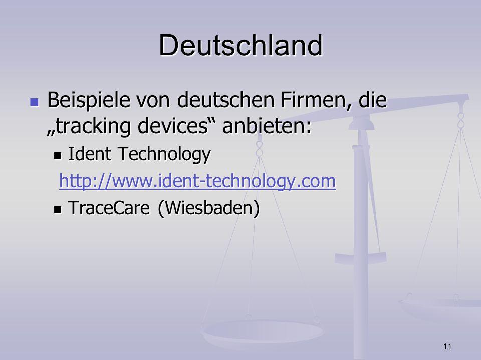 11 Deutschland Beispiele von deutschen Firmen, die tracking devices anbieten: Beispiele von deutschen Firmen, die tracking devices anbieten: Ident Tec