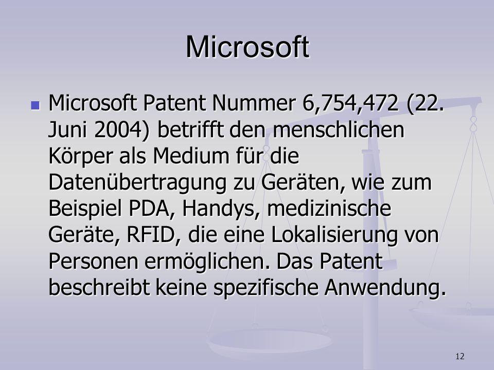 12 Microsoft Microsoft Patent Nummer 6,754,472 (22. Juni 2004) betrifft den menschlichen Körper als Medium für die Datenübertragung zu Geräten, wie zu