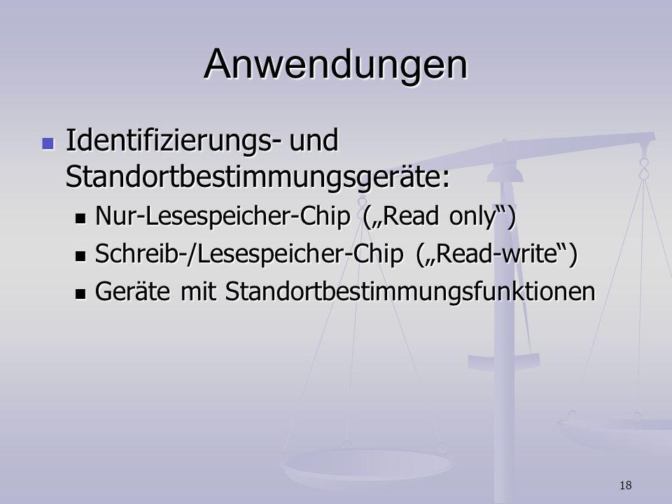 18 Anwendungen Identifizierungs- und Standortbestimmungsgeräte: Identifizierungs- und Standortbestimmungsgeräte: Nur-Lesespeicher-Chip (Read only) Nur