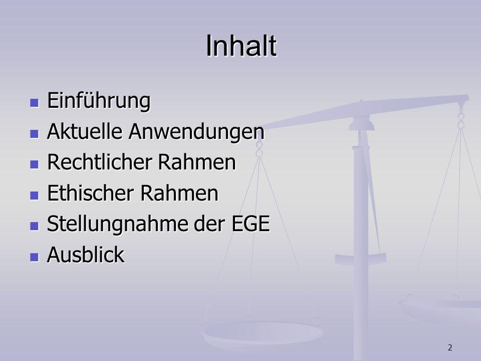 2 Inhalt Einführung Einführung Aktuelle Anwendungen Aktuelle Anwendungen Rechtlicher Rahmen Rechtlicher Rahmen Ethischer Rahmen Ethischer Rahmen Stell
