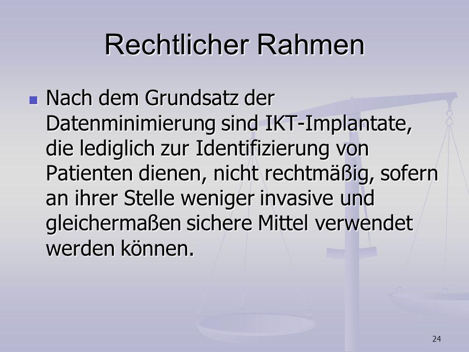 24 Rechtlicher Rahmen Nach dem Grundsatz der Datenminimierung sind IKT-Implantate, die lediglich zur Identifizierung von Patienten dienen, nicht recht