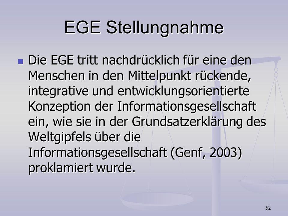 62 EGE Stellungnahme Die EGE tritt nachdrücklich für eine den Menschen in den Mittelpunkt rückende, integrative und entwicklungsorientierte Konzeption