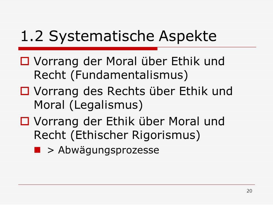 20 1.2 Systematische Aspekte Vorrang der Moral über Ethik und Recht (Fundamentalismus) Vorrang des Rechts über Ethik und Moral (Legalismus) Vorrang der Ethik über Moral und Recht (Ethischer Rigorismus) > Abwägungsprozesse