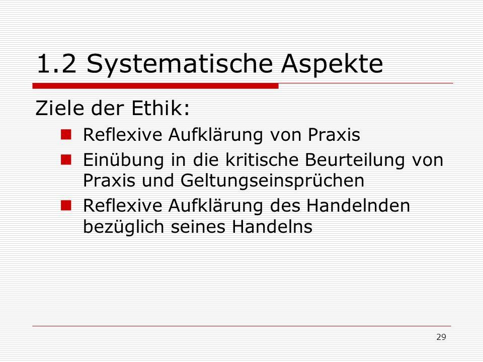 29 1.2 Systematische Aspekte Ziele der Ethik: Reflexive Aufklärung von Praxis Einübung in die kritische Beurteilung von Praxis und Geltungseinsprüchen Reflexive Aufklärung des Handelnden bezüglich seines Handelns