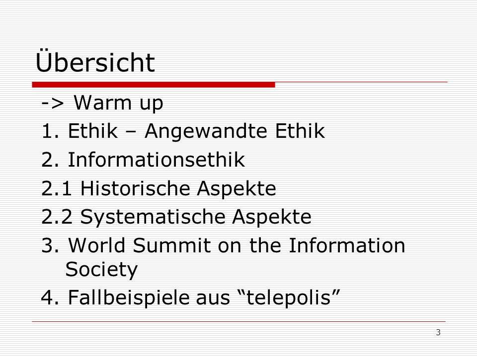 4 Warm up Aus dem Leben gemailt ICIE telepolis Chaos Computer Club: Hackerethik Infoethik an der Uni Saarbrücken WSIS