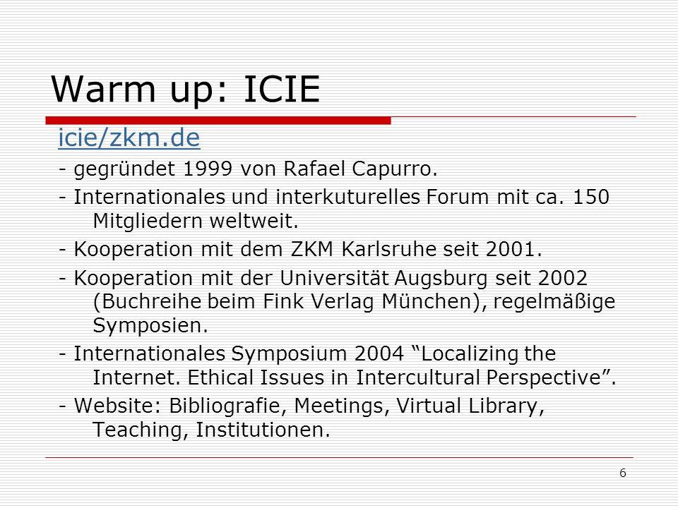 6 Warm up: ICIE icie/zkm.de - gegründet 1999 von Rafael Capurro.