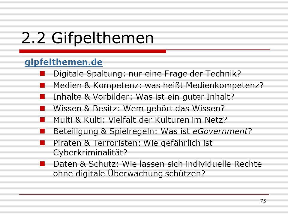 75 2.2 Gifpelthemen gipfelthemen.de Digitale Spaltung: nur eine Frage der Technik.