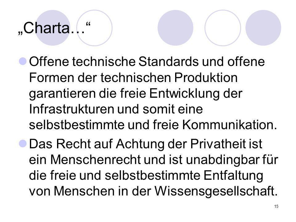 15 Charta… Offene technische Standards und offene Formen der technischen Produktion garantieren die freie Entwicklung der Infrastrukturen und somit ei