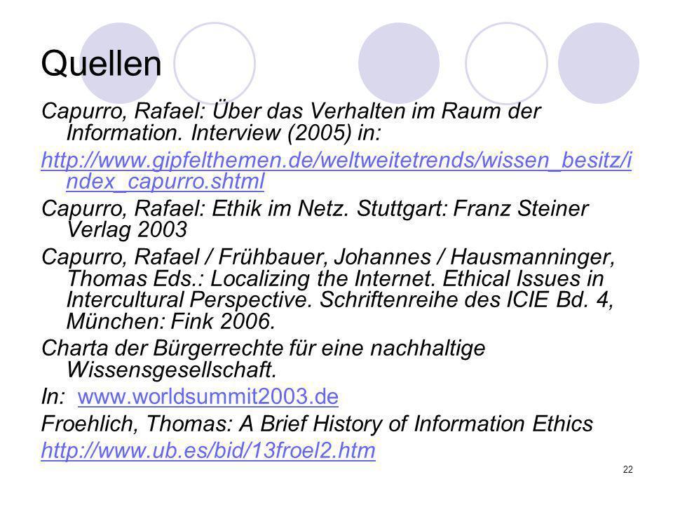 22 Quellen Capurro, Rafael: Über das Verhalten im Raum der Information. Interview (2005) in: http://www.gipfelthemen.de/weltweitetrends/wissen_besitz/