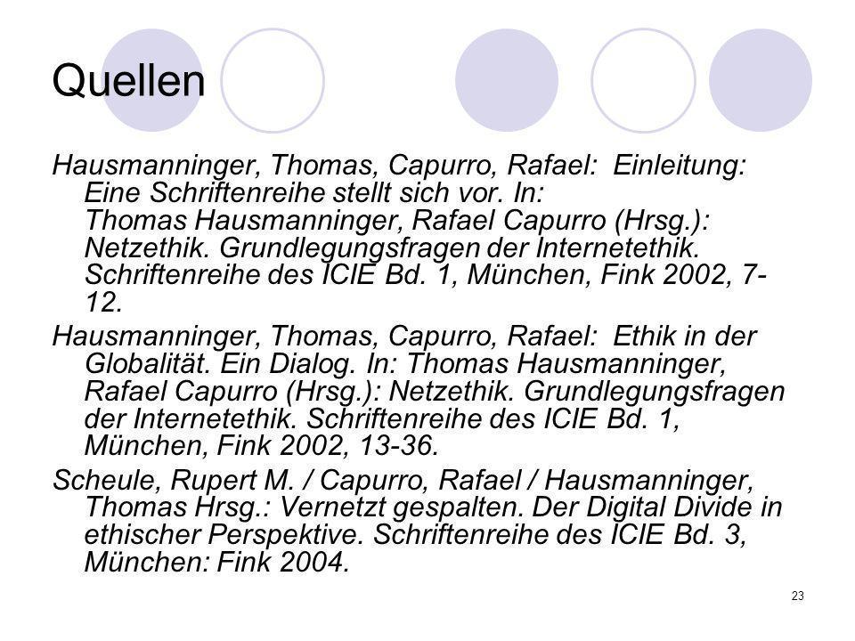 23 Quellen Hausmanninger, Thomas, Capurro, Rafael: Einleitung: Eine Schriftenreihe stellt sich vor. In: Thomas Hausmanninger, Rafael Capurro (Hrsg.):