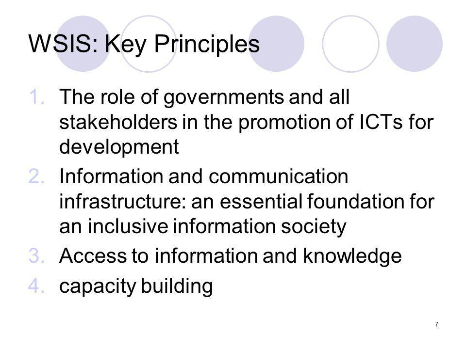 7 WSIS: Key Principles 1.The role of governments and all stakeholders in the promotion of ICTs for development 2.Information and communication infrast
