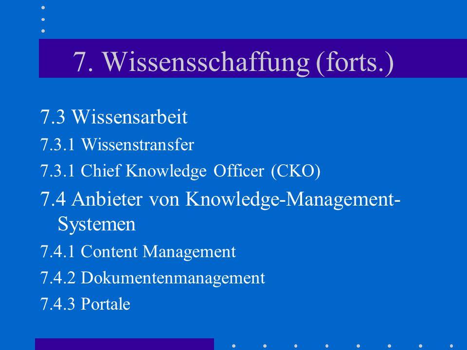7. Wissensschaffung (forts.) 7.3 Wissensarbeit 7.3.1 Wissenstransfer 7.3.1 Chief Knowledge Officer (CKO) 7.4 Anbieter von Knowledge-Management- System