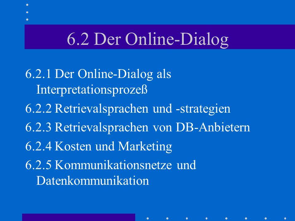 6.2 Der Online-Dialog 6.2.1 Der Online-Dialog als Interpretationsprozeß 6.2.2 Retrievalsprachen und -strategien 6.2.3 Retrievalsprachen von DB-Anbietern 6.2.4 Kosten und Marketing 6.2.5 Kommunikationsnetze und Datenkommunikation