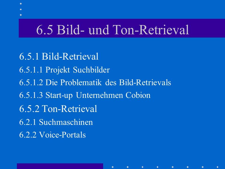6.5 Bild- und Ton-Retrieval 6.5.1 Bild-Retrieval 6.5.1.1 Projekt Suchbilder 6.5.1.2 Die Problematik des Bild-Retrievals 6.5.1.3 Start-up Unternehmen Cobion 6.5.2 Ton-Retrieval 6.2.1 Suchmaschinen 6.2.2 Voice-Portals