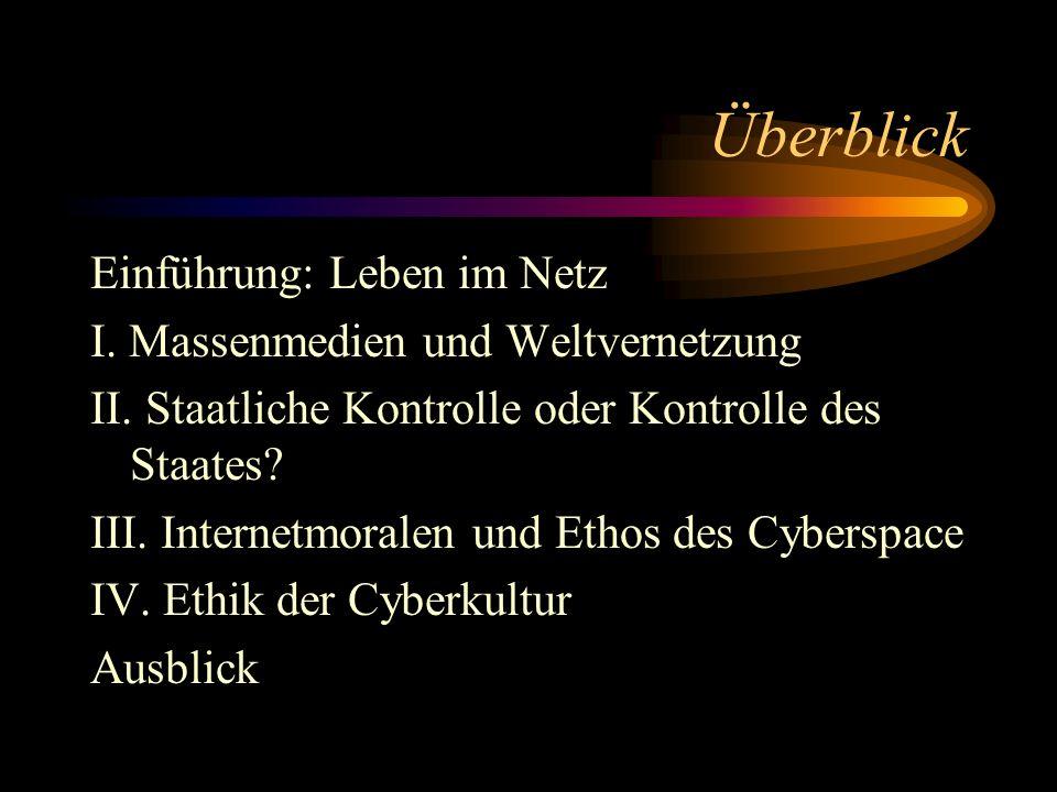 Einführung: Leben im Netz Lehre: www.capurro.dewww.capurro.de Forschung: http://icie.zkm.dehttp://icie.zkm.de Öffentlichkeit und Privatheit: http://members.tripod.com/planalerta/ http://members.tripod.com/planalerta/
