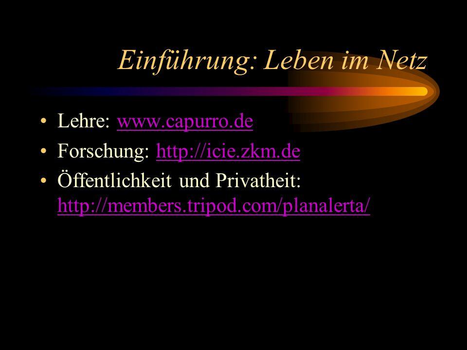 Einführung: Leben im Netz Lehre: www.capurro.dewww.capurro.de Forschung: http://icie.zkm.dehttp://icie.zkm.de Öffentlichkeit und Privatheit: http://me