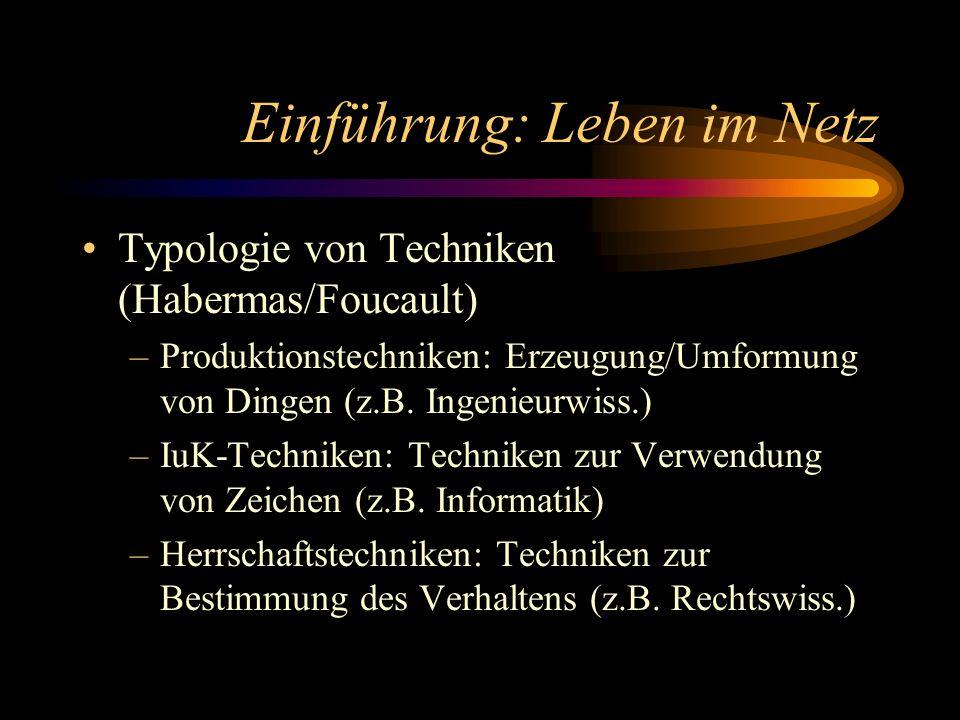 Einführung: Leben im Netz Typologie von Techniken (Habermas/Foucault) –Produktionstechniken: Erzeugung/Umformung von Dingen (z.B. Ingenieurwiss.) –IuK