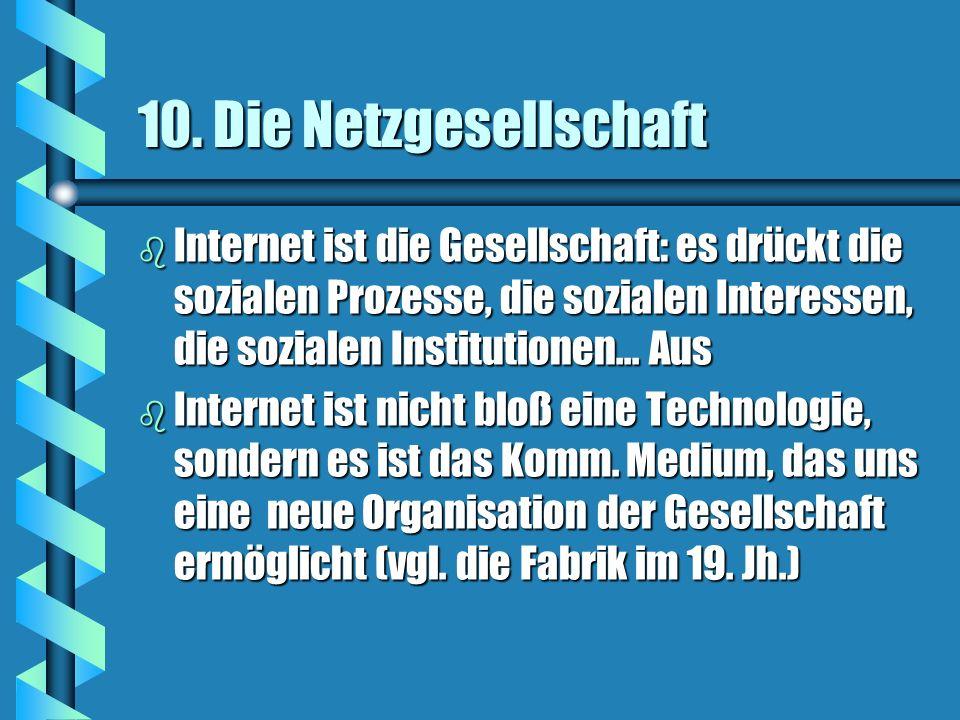 10. Die Netzgesellschaft b Internet ist die Gesellschaft: es drückt die sozialen Prozesse, die sozialen Interessen, die sozialen Institutionen... Aus