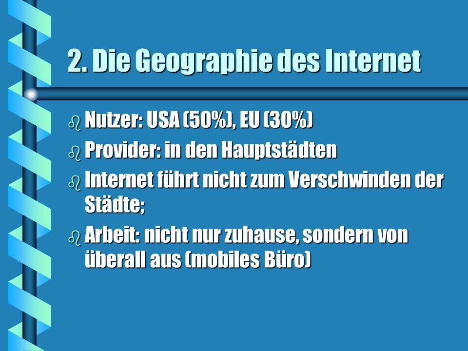 2. Die Geographie des Internet b Nutzer: USA (50%), EU (30%) b Provider: in den Hauptstädten b Internet führt nicht zum Verschwinden der Städte; b Arb