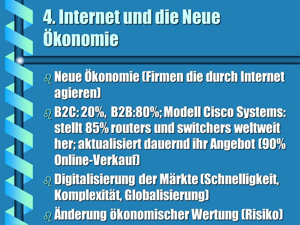 4. Internet und die Neue Ökonomie b Neue Ökonomie (Firmen die durch Internet agieren) b B2C: 20%, B2B:80%; Modell Cisco Systems: stellt 85% routers un