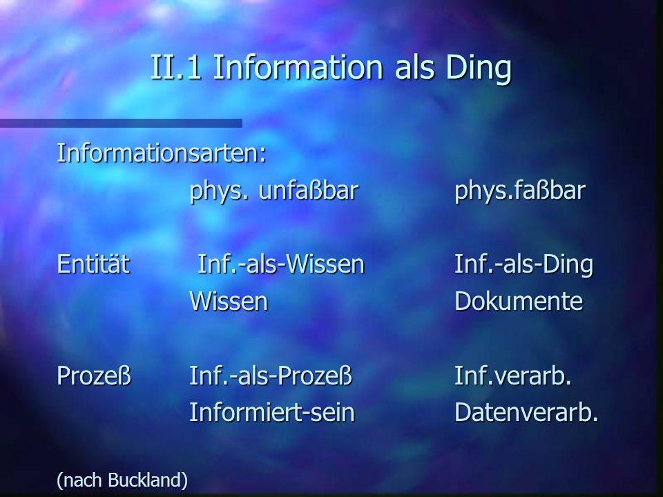 II.1 Information als Ding Informationsarten: phys. unfaßbarphys.faßbar Entität Inf.-als-WissenInf.-als-Ding WissenDokumente ProzeßInf.-als-ProzeßInf.v