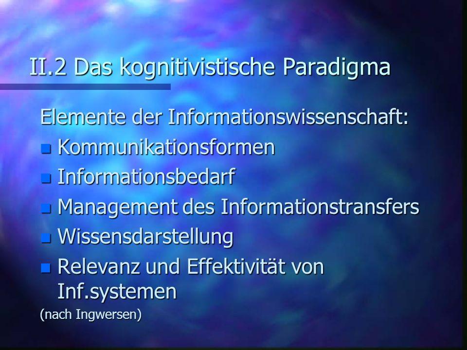 II.2 Das kognitivistische Paradigma Elemente der Informationswissenschaft: n Kommunikationsformen n Informationsbedarf n Management des Informationstr